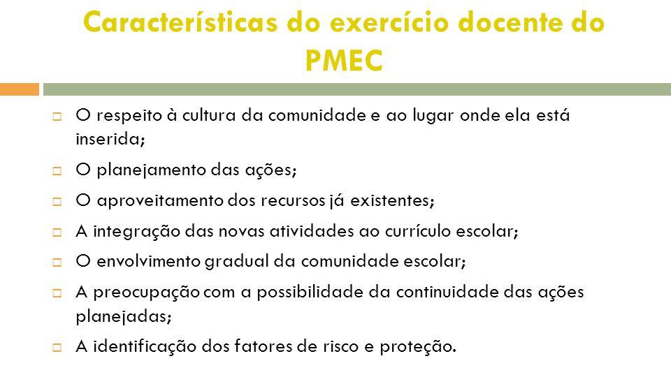 Características do exercício docente do PMEC  O respeito à cultura da comunidade e ao lugar onde ela está inserida;  O planejamento das ações;  O a