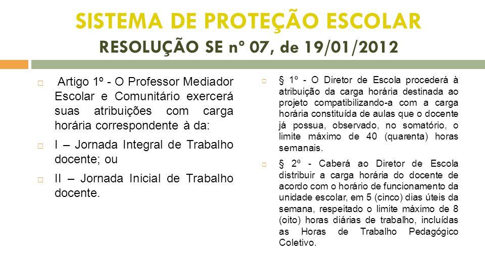 SISTEMA DE PROTEÇÃO ESCOLAR RESOLUÇÃO SE nº 07, de 19/01/2012  Artigo 1º - O Professor Mediador Escolar e Comunitário exercerá suas atribuições com c