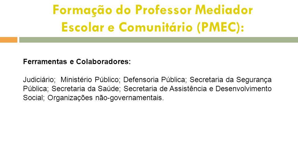 Formação do Professor Mediador Escolar e Comunitário (PMEC): Ferramentas e Colaboradores: Judiciário; Ministério Público; Defensoria Pública; Secretar