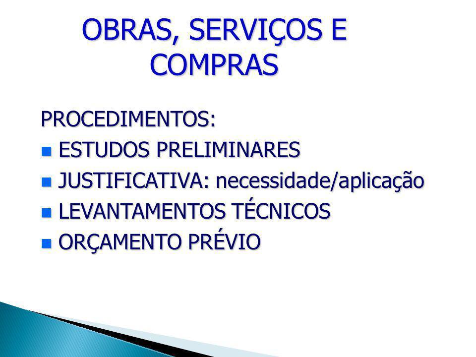 OBRAS, SERVIÇOS E COMPRAS PROCEDIMENTOS: ESTUDOS PRELIMINARES ESTUDOS PRELIMINARES JUSTIFICATIVA: necessidade/aplicação JUSTIFICATIVA: necessidade/aplicação LEVANTAMENTOS TÉCNICOS LEVANTAMENTOS TÉCNICOS ORÇAMENTO PRÉVIO ORÇAMENTO PRÉVIO