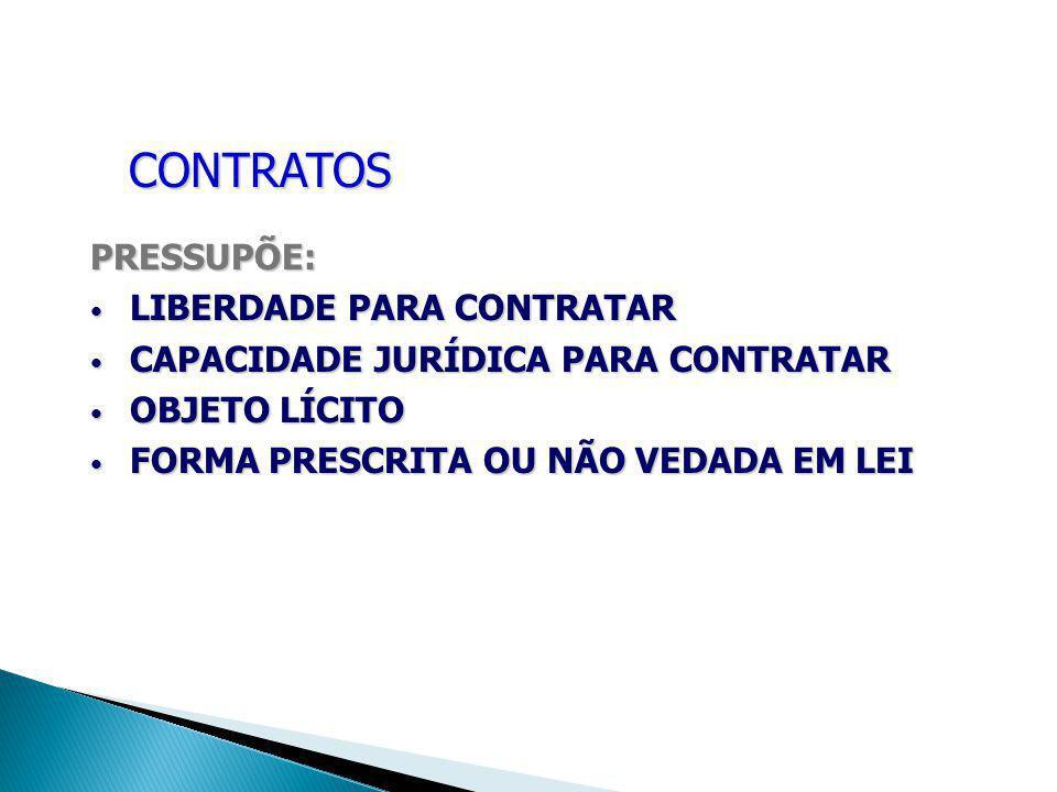 CONTRATOS PRESSUPÕE: LIBERDADE PARA CONTRATAR LIBERDADE PARA CONTRATAR CAPACIDADE JURÍDICA PARA CONTRATAR CAPACIDADE JURÍDICA PARA CONTRATAR OBJETO LÍ