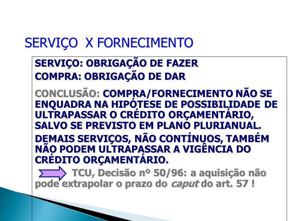 SERVIÇO X FORNECIMENTO SERVIÇO: OBRIGAÇÃO DE FAZER COMPRA: OBRIGAÇÃO DE DAR CONCLUSÃO: COMPRA/FORNECIMENTO NÃO SE ENQUADRA NA HIPÓTESE DE POSSIBILIDADE DE ULTRAPASSAR O CRÉDITO ORÇAMENTÁRIO, SALVO SE PREVISTO EM PLANO PLURIANUAL.