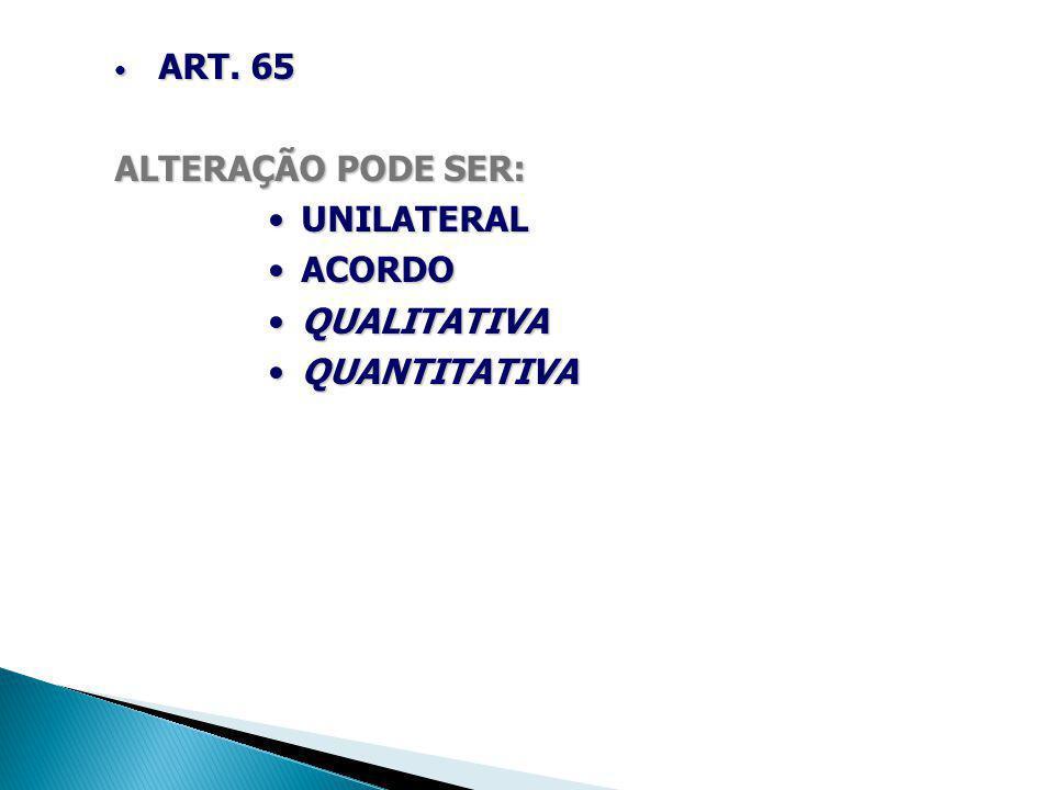 ART. 65 ART. 65 ALTERAÇÃO PODE SER: UNILATERALUNILATERAL ACORDOACORDO QUALITATIVAQUALITATIVA QUANTITATIVAQUANTITATIVA