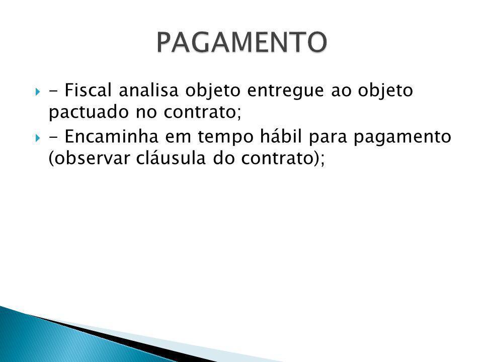  - Fiscal analisa objeto entregue ao objeto pactuado no contrato;  - Encaminha em tempo hábil para pagamento (observar cláusula do contrato);