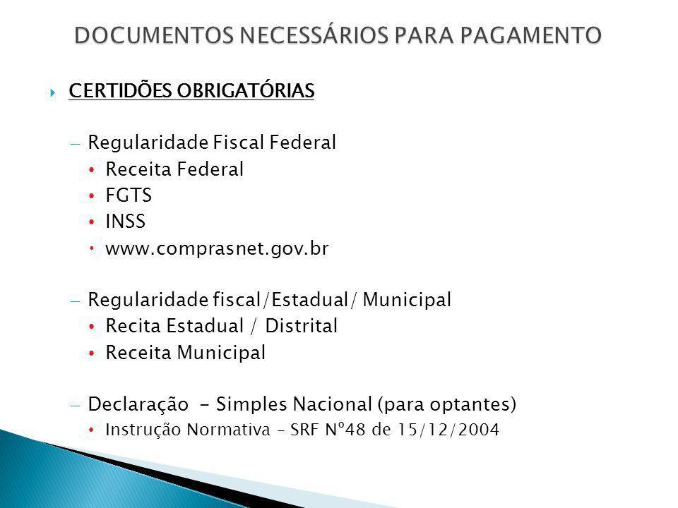  CERTIDÕES OBRIGATÓRIAS – Regularidade Fiscal Federal Receita Federal FGTS INSS  www.comprasnet.gov.br – Regularidade fiscal/Estadual/ Municipal Rec