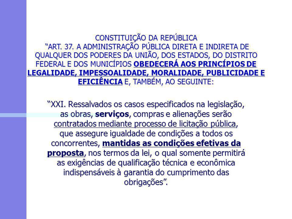 """CONSTITUIÇÃO DA REPÚBLICA """"ART. 37. A ADMINISTRAÇÃO PÚBLICA DIRETA E INDIRETA DE QUALQUER DOS PODERES DA UNIÃO, DOS ESTADOS, DO DISTRITO FEDERAL E DOS"""