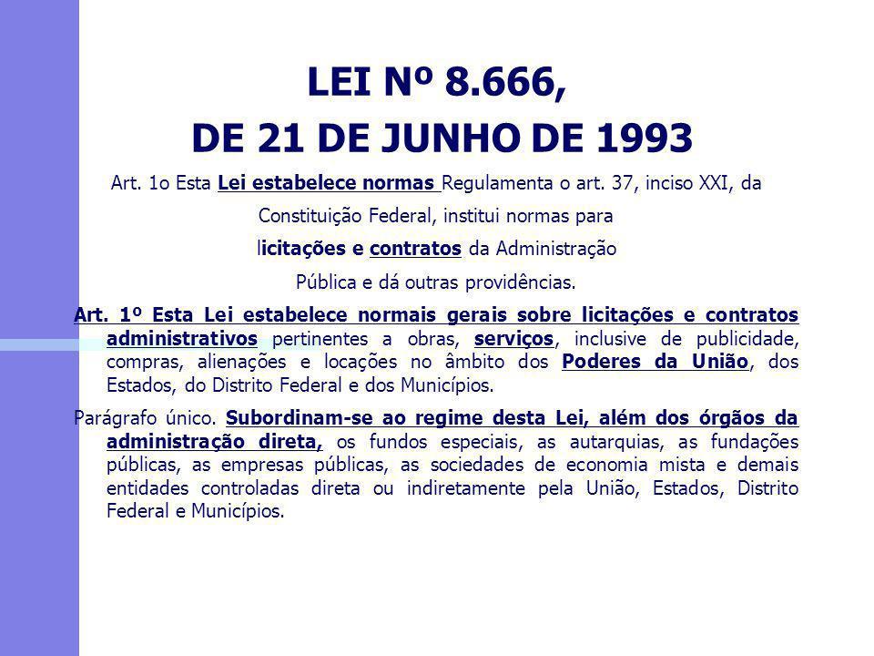 LEI Nº 8.666, DE 21 DE JUNHO DE 1993 Art. 1o Esta Lei estabelece normas Regulamenta o art. 37, inciso XXI, da Constituição Federal, institui normas pa