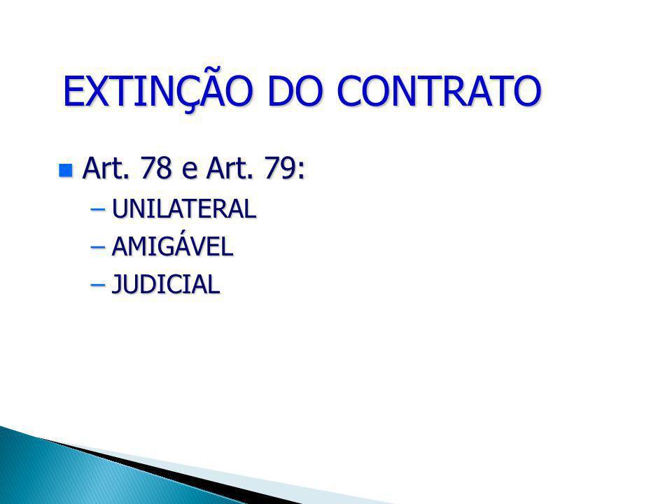 EXTINÇÃO DO CONTRATO Art. Art. 78 e Art. 79: –UNILATERAL –AMIGÁVEL –JUDICIAL