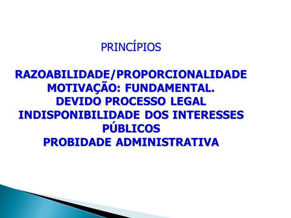 PRINCÍPIOS RAZOABILIDADE/PROPORCIONALIDADE MOTIVAÇÃO: FUNDAMENTAL. DEVIDO PROCESSO LEGAL INDISPONIBILIDADE DOS INTERESSES PÚBLICOS PROBIDADE ADMINISTR