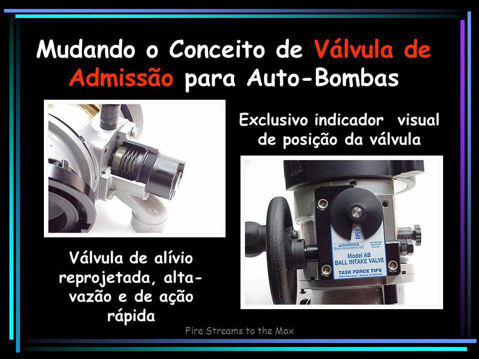Fire Streams to the Max Mudando o Conceito de Válvula de Admissão para Auto-Bombas Válvula de alívio reprojetada, alta- vazão e de ação rápida Exclusivo indicador visual de posição da válvula