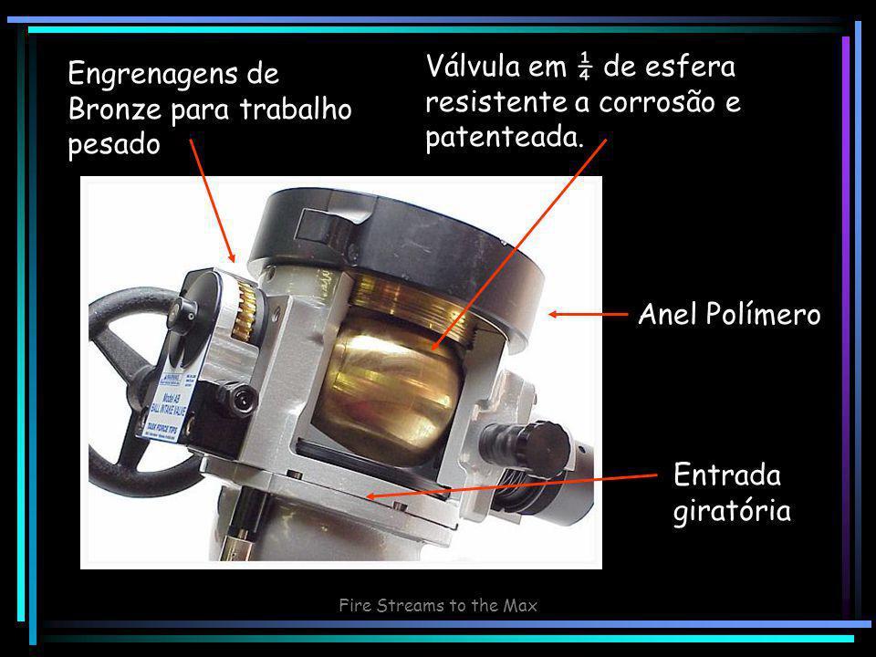 Fire Streams to the Max Engrenagens de Bronze para trabalho pesado Válvula em ¼ de esfera resistente a corrosão e patenteada.