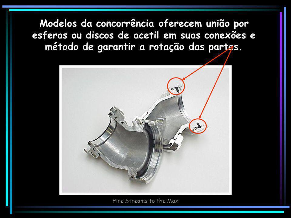 Fire Streams to the Max Modelos da concorrência oferecem união por esferas ou discos de acetil em suas conexões e método de garantir a rotação das partes.