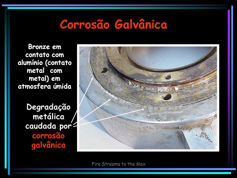 Fire Streams to the Max Corrosão Galvânica Bronze em contato com alumínio (contato metal com metal) em atmosfera úmida Degradação metálica caudada por corrosão galvânica