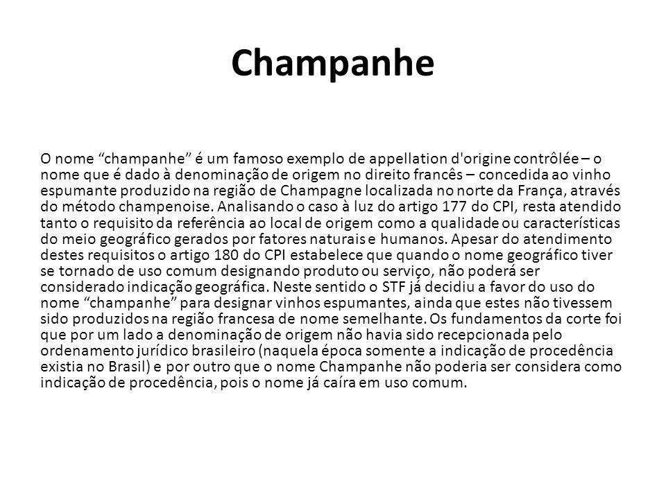 """Champanhe O nome """"champanhe"""" é um famoso exemplo de appellation d'origine contrôlée – o nome que é dado à denominação de origem no direito francês – c"""