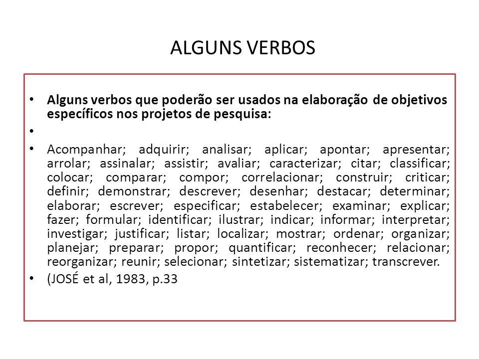 ALGUNS VERBOS Alguns verbos que poderão ser usados na elaboração de objetivos específicos nos projetos de pesquisa: Acompanhar; adquirir; analisar; ap