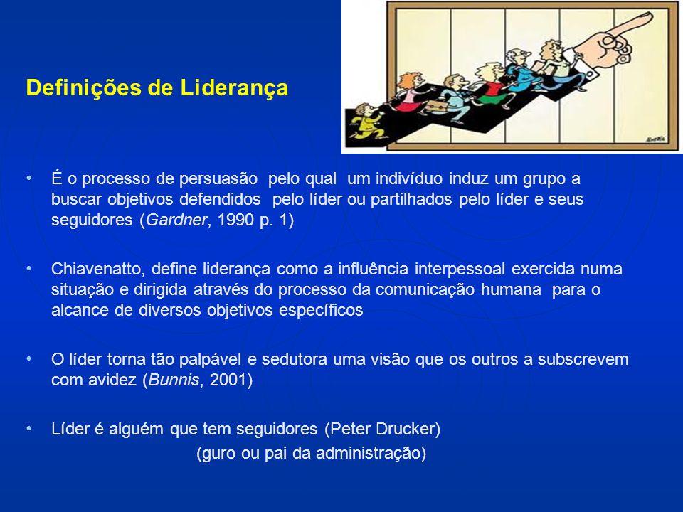 Definições de Liderança É o processo de persuasão pelo qual um indivíduo induz um grupo a buscar objetivos defendidos pelo líder ou partilhados pelo líder e seus seguidores (Gardner, 1990 p.