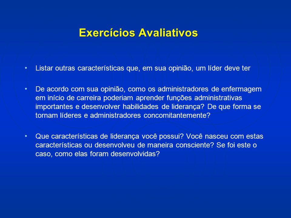 Exercícios Avaliativos Listar outras características que, em sua opinião, um líder deve ter De acordo com sua opinião, como os administradores de enfe