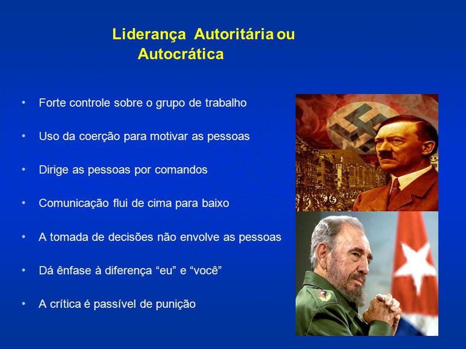 Liderança Autoritária ou Autocrática Forte controle sobre o grupo de trabalho Uso da coerção para motivar as pessoas Dirige as pessoas por comandos Co