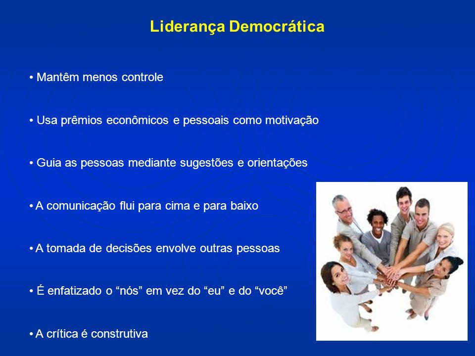 Liderança Democrática Mantêm menos controle Usa prêmios econômicos e pessoais como motivação Guia as pessoas mediante sugestões e orientações A comuni