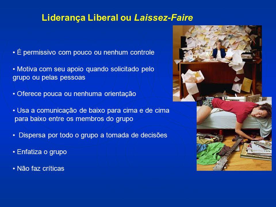 Liderança Liberal ou Laissez-Faire É permissivo com pouco ou nenhum controle Motiva com seu apoio quando solicitado pelo grupo ou pelas pessoas Oferec