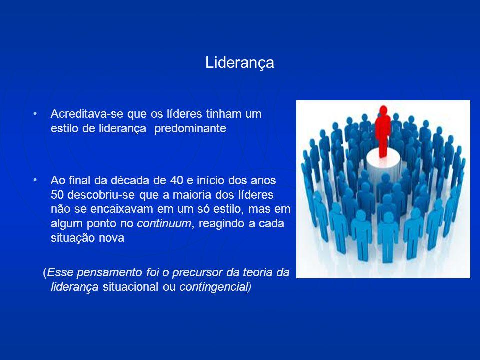 Liderança Acreditava-se que os líderes tinham um estilo de liderança predominante Ao final da década de 40 e início dos anos 50 descobriu-se que a maioria dos líderes não se encaixavam em um só estilo, mas em algum ponto no continuum, reagindo a cada situação nova (Esse pensamento foi o precursor da teoria da liderança situacional ou contingencial )