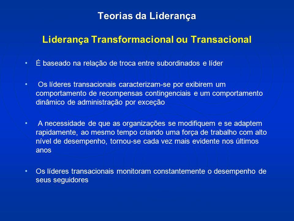 Teorias da Liderança Teorias da Liderança Liderança Transformacional ou Transacional É baseado na relação de troca entre subordinados e líder Os líder