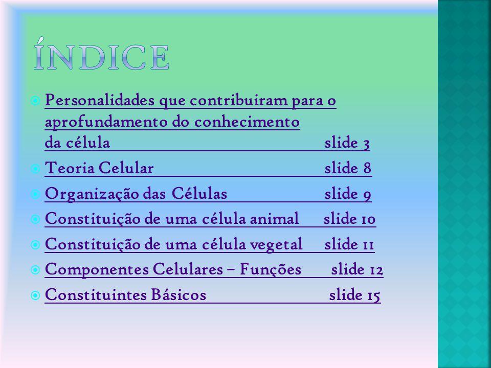  Personalidades que contribuiram para o aprofundamento do conhecimento da célulaslide 3 Personalidades que contribuiram para o aprofundamento do conh