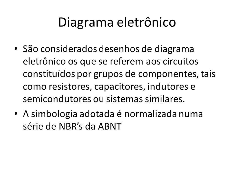 Diagrama eletrônico São considerados desenhos de diagrama eletrônico os que se referem aos circuitos constituídos por grupos de componentes, tais como