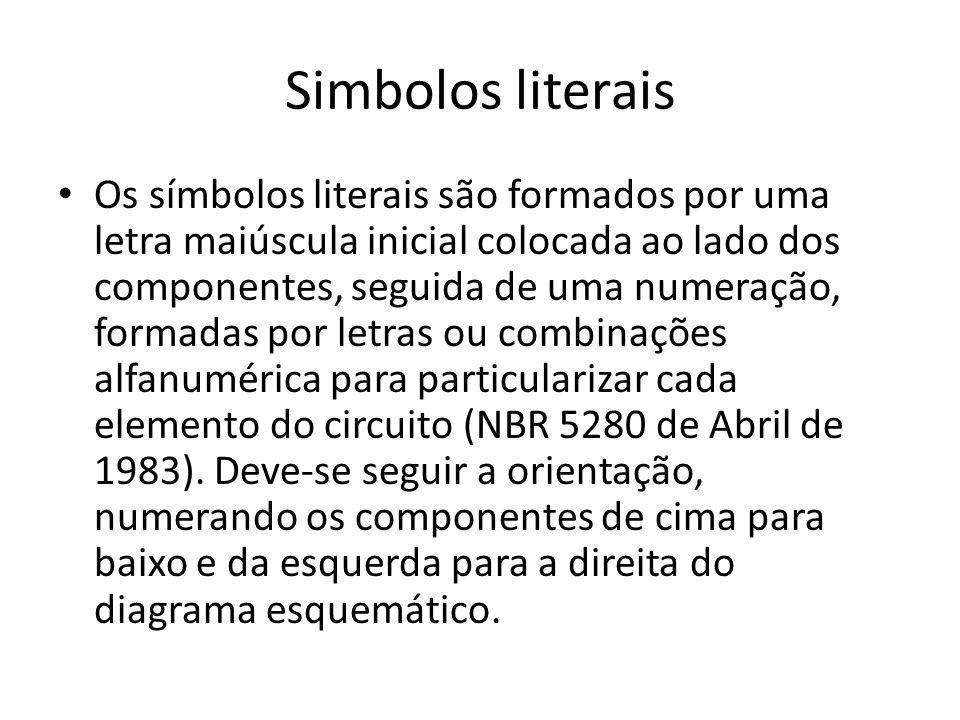 Simbolos literais Os símbolos literais são formados por uma letra maiúscula inicial colocada ao lado dos componentes, seguida de uma numeração, formad