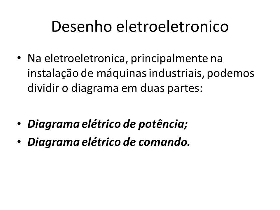 Desenho eletroeletronico Na eletroeletronica, principalmente na instalação de máquinas industriais, podemos dividir o diagrama em duas partes: Diagram