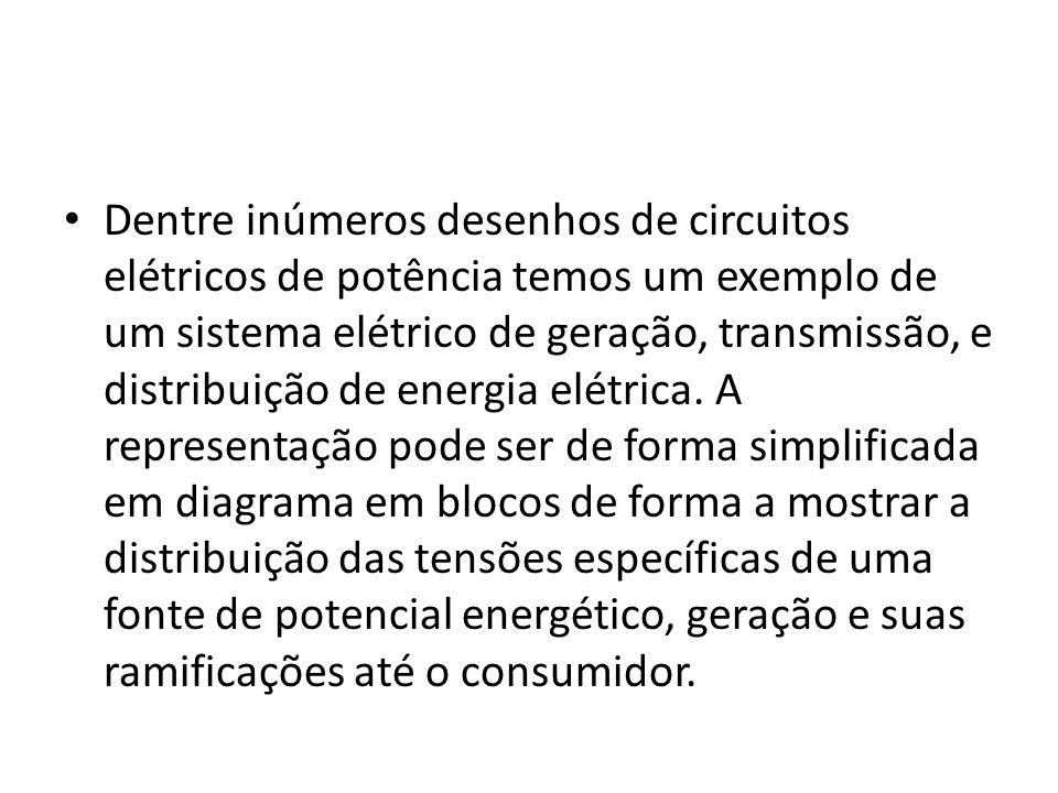 Dentre inúmeros desenhos de circuitos elétricos de potência temos um exemplo de um sistema elétrico de geração, transmissão, e distribuição de energia