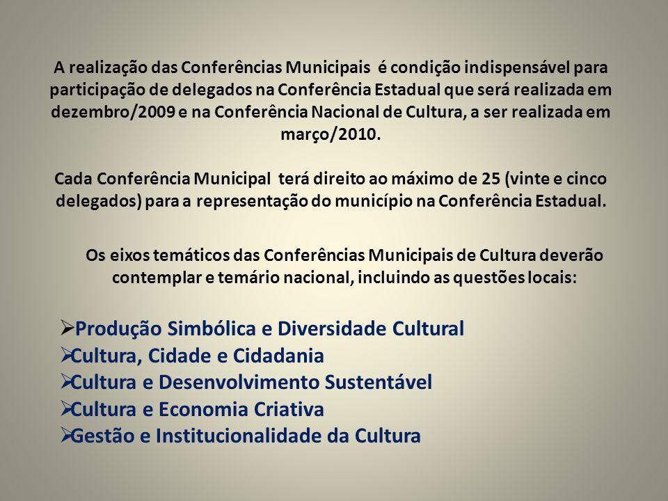 A realização das Conferências Municipais é condição indispensável para participação de delegados na Conferência Estadual que será realizada em dezembro/2009 e na Conferência Nacional de Cultura, a ser realizada em março/2010.