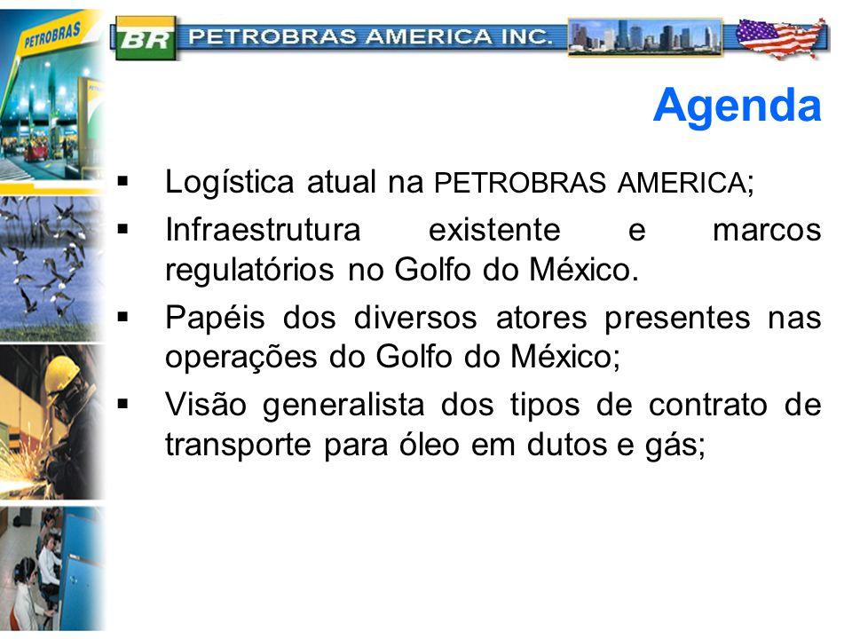 Agenda  Logística atual na PETROBRAS AMERICA ;  Infraestrutura existente e marcos regulatórios no Golfo do México.  Papéis dos diversos atores pres
