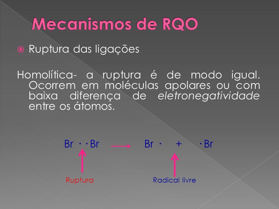  Ruptura das ligações Homolítica- a ruptura é de modo igual.
