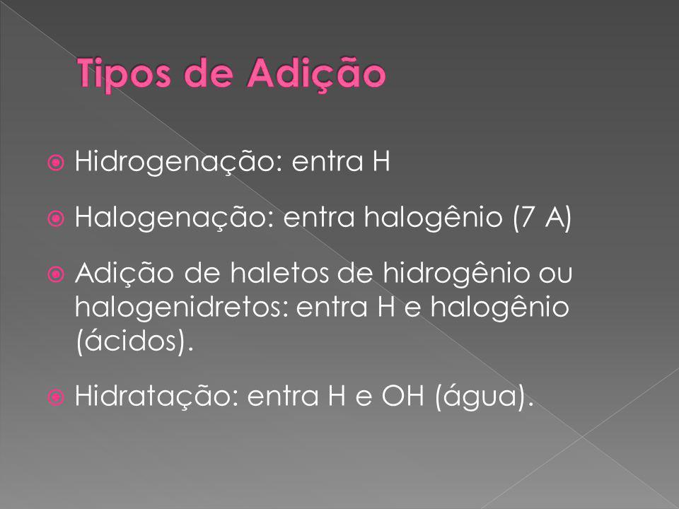  Hidrogenação: entra H  Halogenação: entra halogênio (7 A)  Adição de haletos de hidrogênio ou halogenidretos: entra H e halogênio (ácidos).