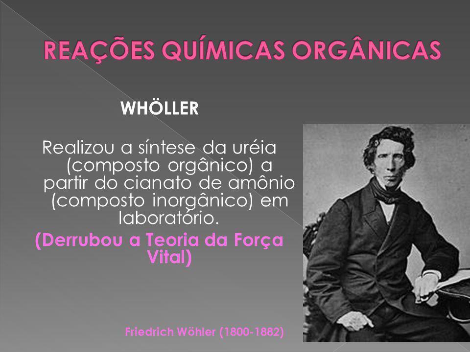 WHÖLLER Realizou a síntese da uréia (composto orgânico) a partir do cianato de amônio (composto inorgânico) em laboratório.