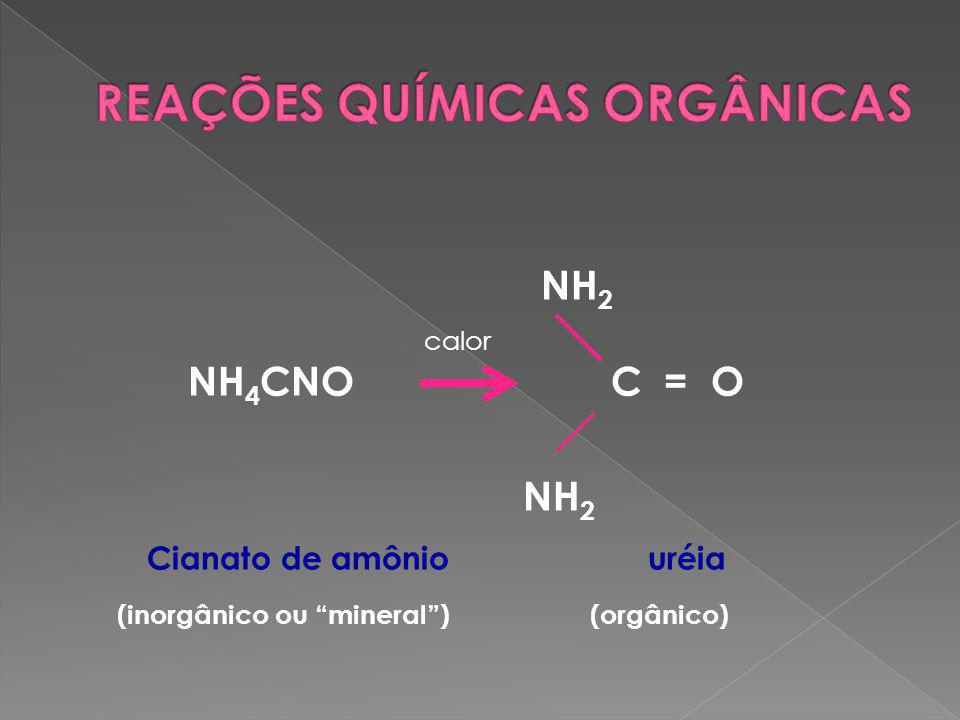 NH 2 calor NH 4 CNO C = O NH 2 Cianato de amônio uréia (inorgânico ou mineral ) (orgânico)