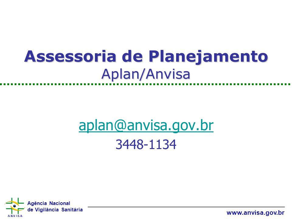 Agência Nacional de Vigilância Sanitária www.anvisa.gov.br Assessoria de Planejamento Aplan/Anvisa aplan@anvisa.gov.br 3448-1134