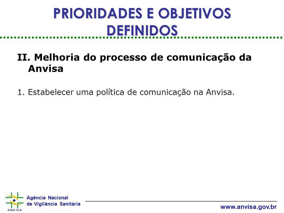 Agência Nacional de Vigilância Sanitária www.anvisa.gov.br II.