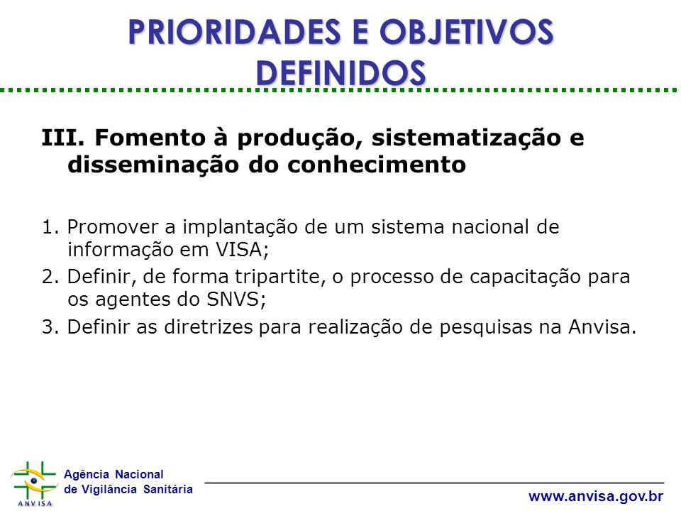 Agência Nacional de Vigilância Sanitária www.anvisa.gov.br III.