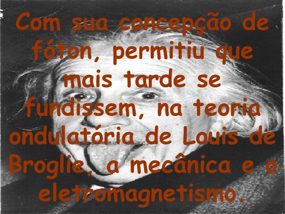 Com sua concepção de fóton, permitiu que mais tarde se fundissem, na teoria ondulatória de Louis de Broglie, a mecânica e o eletromagnetismo.