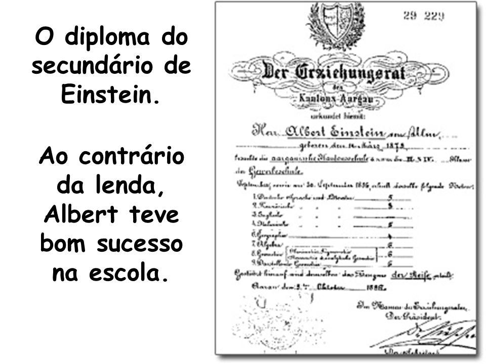 O diploma do secundário de Einstein. Ao contrário da lenda, Albert teve bom sucesso na escola.