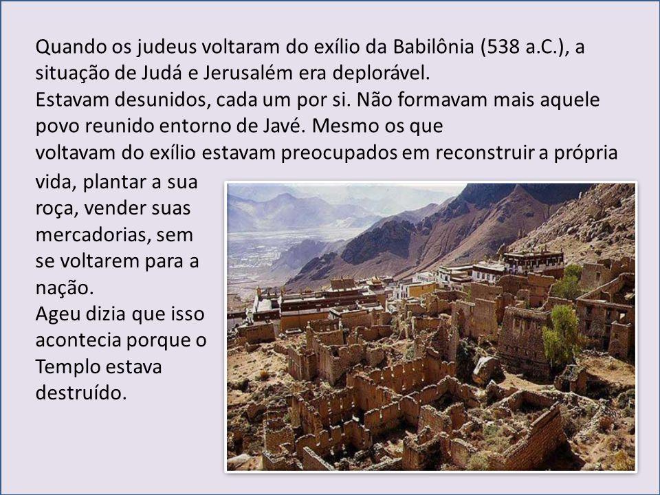 Um leigo – Zorobabel – e um sacerdotes – Josué – procuraram reunir todo mundo e restabelecer a dignidade nacional, reconstruir o Templo e também Jerusalém.