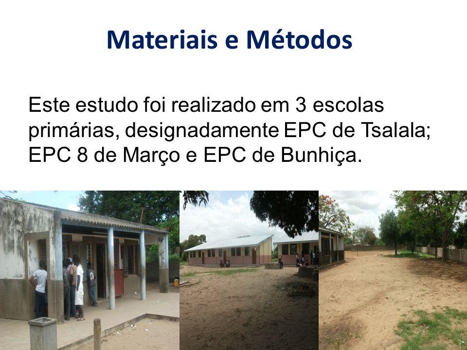 Este estudo foi realizado em 3 escolas primárias, designadamente EPC de Tsalala; EPC 8 de Março e EPC de Bunhiça. Materiais e Métodos