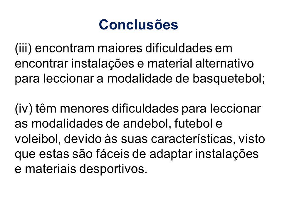 (iii) encontram maiores dificuldades em encontrar instalações e material alternativo para leccionar a modalidade de basquetebol; (iv) têm menores difi