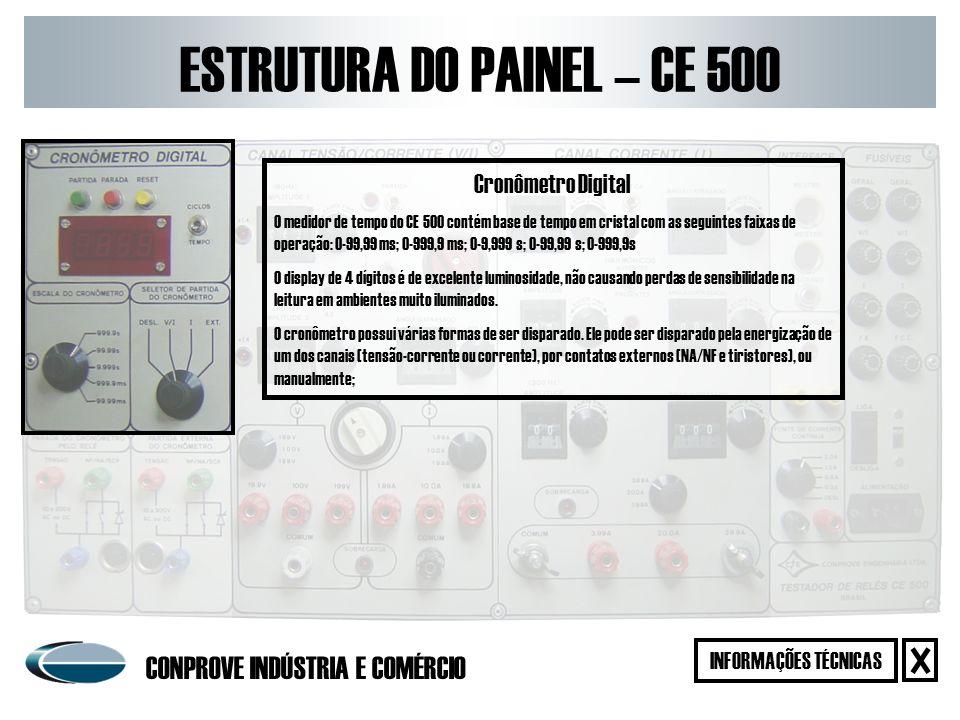 Sistema de Partida e Parada Externa O CE 500 possui um sistema eletrônico que permite a realização da partida e parada do cronômetro tanto pelo fechamento quanto pela abertura de contatos NA ou NF.