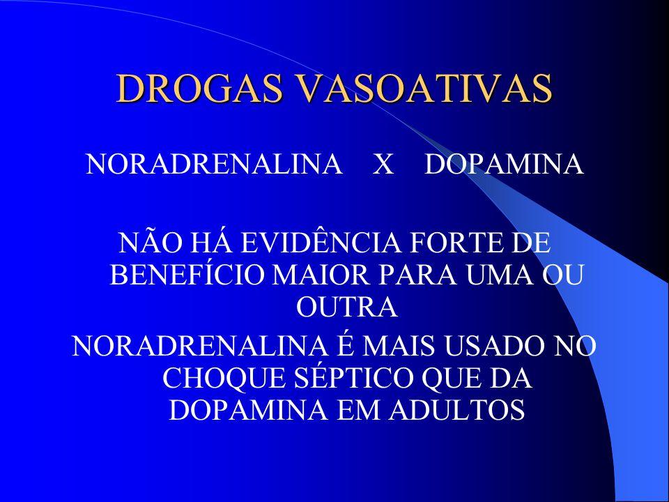 DROGAS VASOATIVAS NORADRENALINA X DOPAMINA NÃO HÁ EVIDÊNCIA FORTE DE BENEFÍCIO MAIOR PARA UMA OU OUTRA NORADRENALINA É MAIS USADO NO CHOQUE SÉPTICO QU