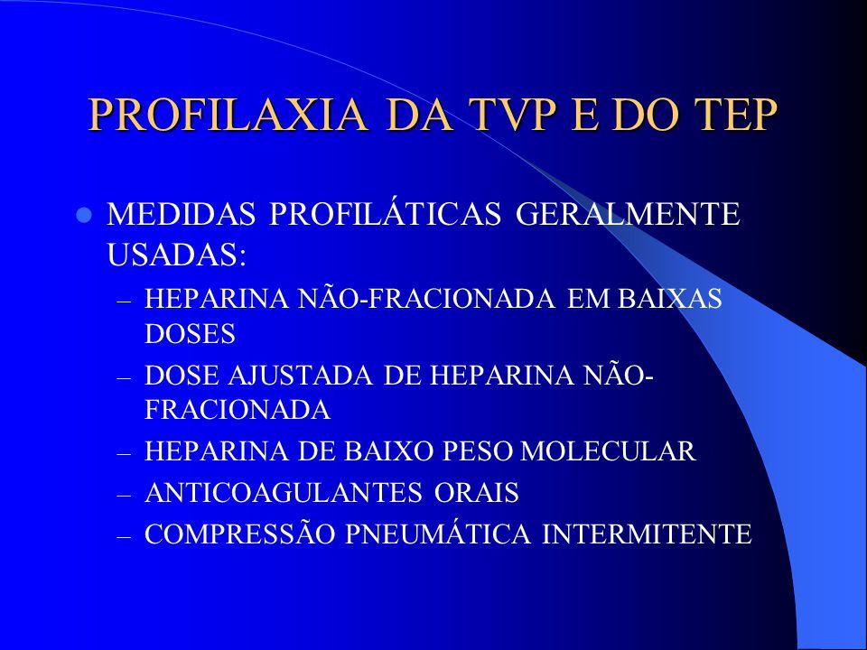 PROFILAXIA DA TVP E DO TEP MEDIDAS PROFILÁTICAS GERALMENTE USADAS: – HEPARINA NÃO-FRACIONADA EM BAIXAS DOSES – DOSE AJUSTADA DE HEPARINA NÃO- FRACIONA