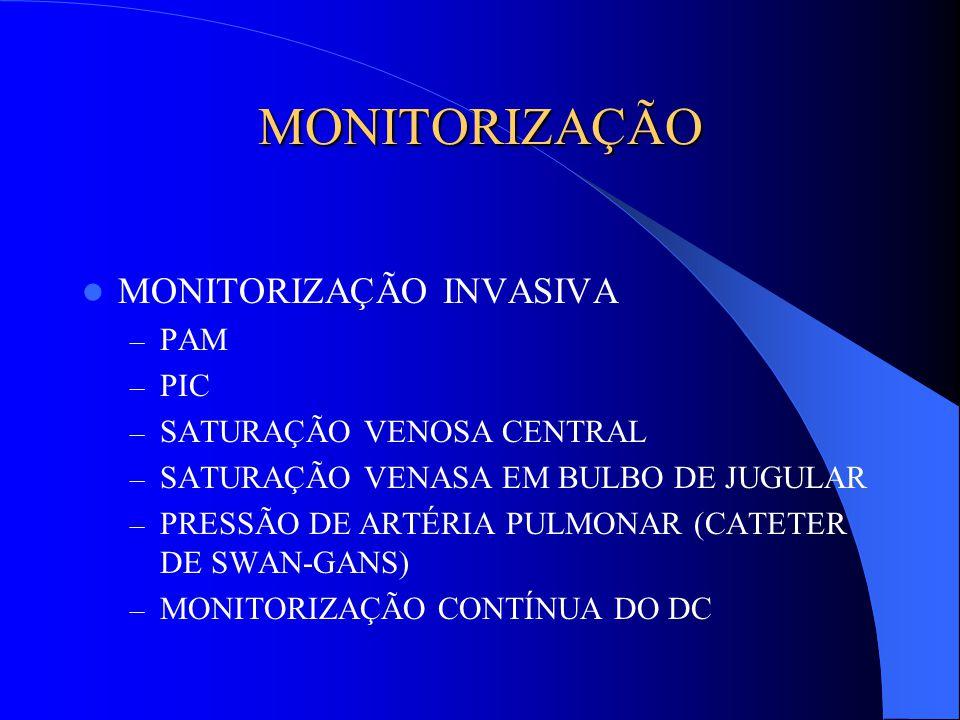 MONITORIZAÇÃO MONITORIZAÇÃO INVASIVA – PAM – PIC – SATURAÇÃO VENOSA CENTRAL – SATURAÇÃO VENASA EM BULBO DE JUGULAR – PRESSÃO DE ARTÉRIA PULMONAR (CATE