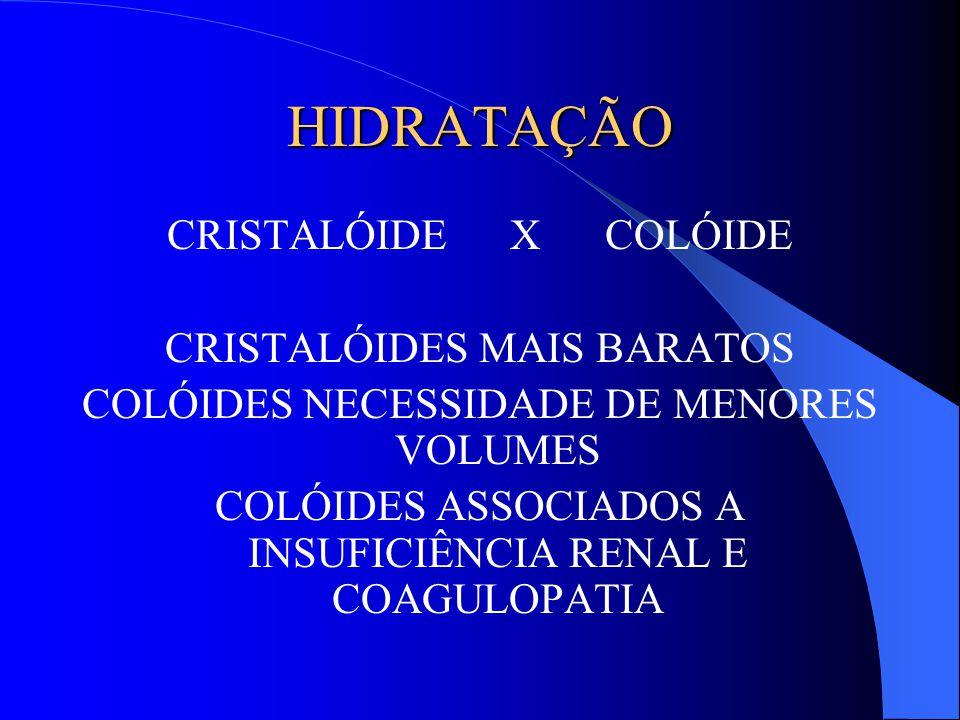 HIDRATAÇÃO CRISTALÓIDE X COLÓIDE CRISTALÓIDES MAIS BARATOS COLÓIDES NECESSIDADE DE MENORES VOLUMES COLÓIDES ASSOCIADOS A INSUFICIÊNCIA RENAL E COAGULO
